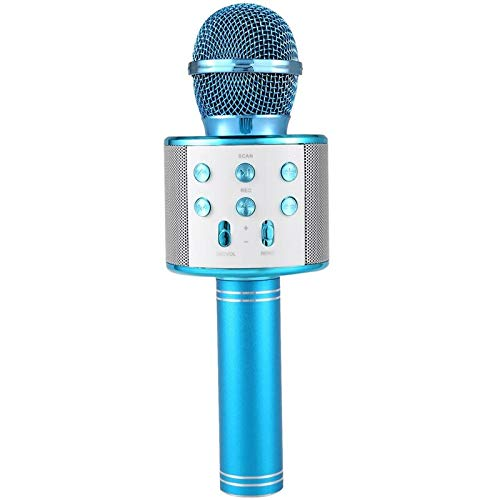 Wireless Bluetooth Karaoke Microphone Rechargeable Portable Handheld Mic Speaker Music Player with Recording and Controllable LED Lights Christmas Birthday Party Home KTV for Kids Adults