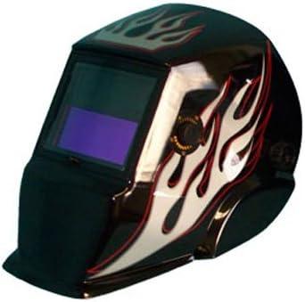 Solar Powered Auto Darkening Flame Helmet-BLACK Bombing new work with Fla Cheap SALE Start Welding