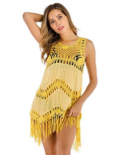 Sethain Mujeres Tejer playa Bikini Cubrirlos Vestido Escarpado Amarillo Malla Vestidos con flecos para traje de baño