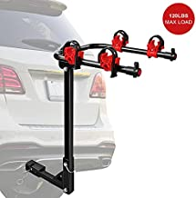 EDOSTORY Bicycle Car Racks Capacity Up to 120LBS ,Platform Hitch Mount Carrier Rack Foldable 2 Bike Rack fit for Cars, Trucks, SUV's and Minivans with a 2