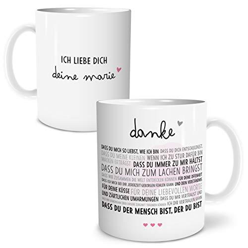 Danke Liebe Große Kaffee-Tasse mit Spruch im Geschenkkarton Personalisiert mit Namen Geschenke Geschenkideen für Freund Freundin Mann und Frau zum GeburtstagHochzeitstag