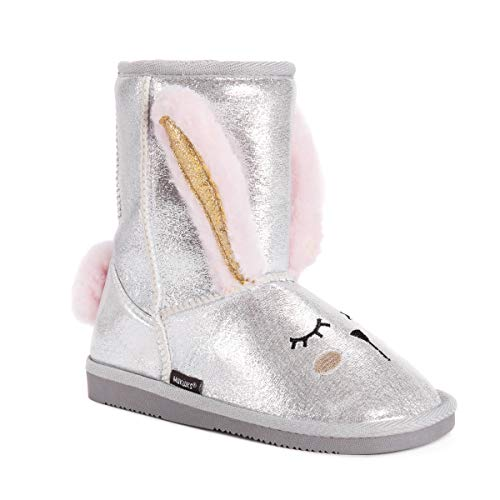 MUK LUKS Girl's Bunny Boots Fashion, Silver, 2 M US Little Kid