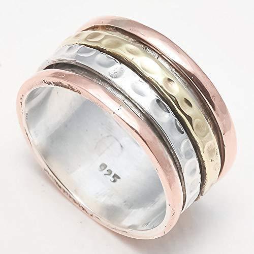 Spinning Spinner Band Ring pour les femmes, bague en argent Sterling, bague de méditation pour hommes, bague pour le pouce, bague pour femme, cadeau d'anniversaire
