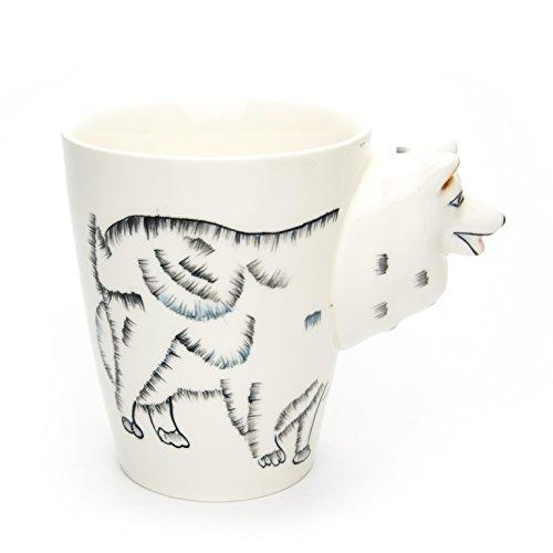 Unbekannt Tasse groß, weiß, lustig mit Tier Motiv in 3D Hund Husky   350ml (400ml randvoll)   Kaffeetasse/Teetasse aus Keramik (Porzellan) Idee
