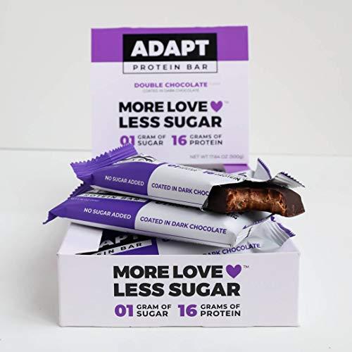 Adapt | Low Carb Protein Bar mit MCT-Öl| 16g hochwertiges Eiweiß pro Riegel | gesüßt mit Erythrit statt Zucker | Maxipack (10 Stück) | Double Chocolate