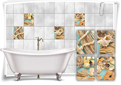 Medianlux Fliesen-Aufkleber SPA Wellness Muscheln Tau Seil Holz Türkis Balken Bad WC Deko, 15x20cm fp5p611h-136153