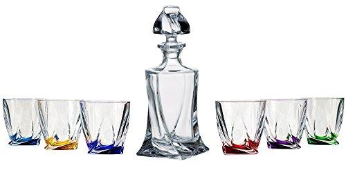 Bohemia Crystal–Decantador de cristal, 28onzas. Y Seis 11oz Classic Whisky Scotch gafas con Multi base de color, regalo de bodas–Juego de decantador y vasos de Whisky, 1+ (6unidades)
