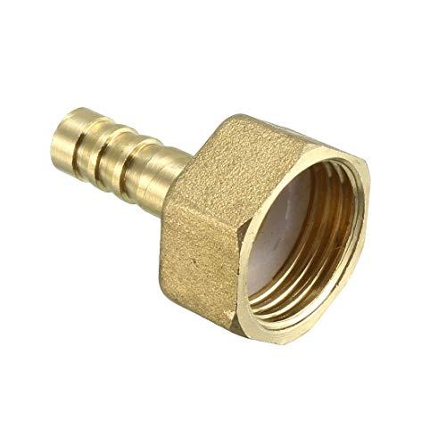 sourcing map manguera de latón adaptador de conector de conexión de manguera de 8 mm púa x 1/2 pt tubo hembra