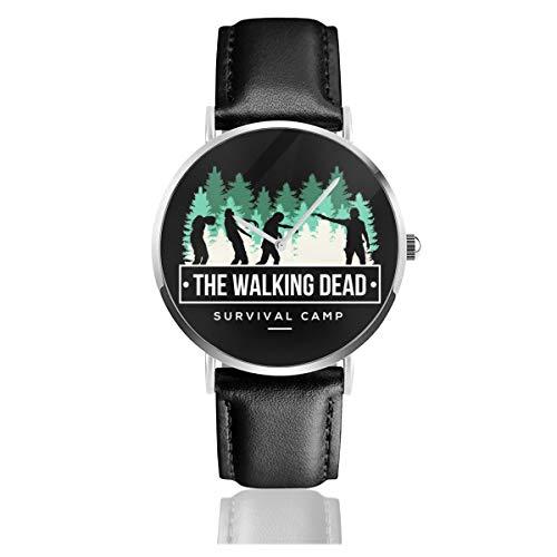 Unisex Business Casual Survival Camp The Walking Dead Uhren Quarz Leder Uhr mit schwarzem Lederband für Männer Frauen Junge Kollektion Geschenk