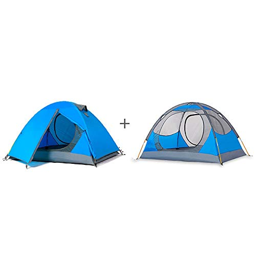 Tents Camping, Outdoor 1-2 Person Aluminum Pole Lightweight Tourist, Double Layer Portable For Hiking, Travelling 0630 (Size : Blue)