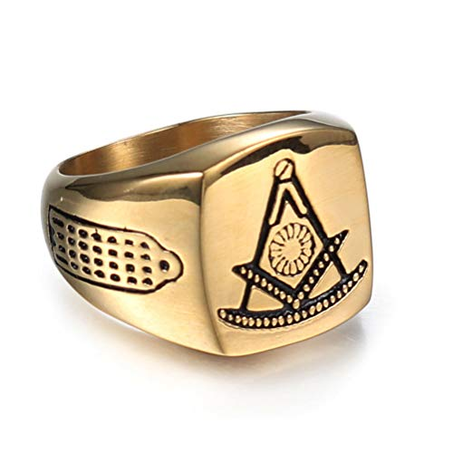 Punk Vintage Personality Masonic Gold Color Rings, Stainless Steel Domineering Freemason Master Mason Signet Hip Hop Rock Band Amulet Jewelry, Party Prom Gift Ring, Size 5-15,10