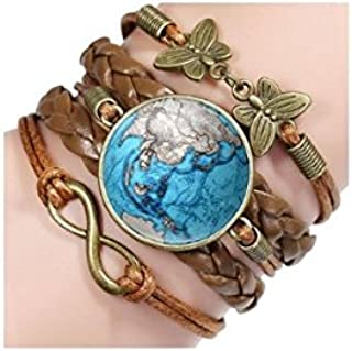 TBOP RAKHI WRISTBANDS Fashion Retro Leather Map Earth Time Gem Hand Knit Globe Bracelet 16cm+5cm for unisex