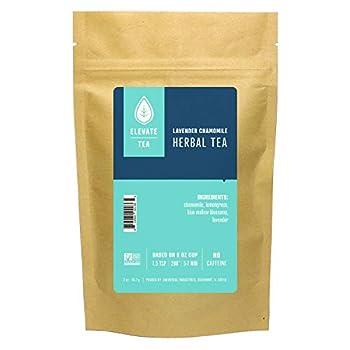 Elevate Tea Lavender Chamomile Tea - Loose Leaf Herbal Tea Caffeine Free 2 oz Pouch - 25 Cups Hot & Iced Tea No Artificals Chamomile Lavender Tea