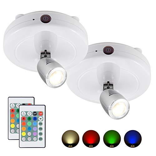 HONWELL LED Spot Batteriebetrieben Fernbedienung, RGB Dartscheibe Beleuchtung Timer Wandleuchte, Bilder mit beleuchtung Drehbar Licht Kopf für Spiegelanstrich Dartscheibe Küche Treppe Gang, 2 Stück