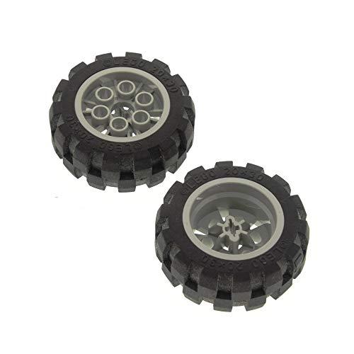 LEGO 2 x Technic Rad schwarz 20x30 Ballon Reifen Medium Räder Felge alt-hell grau Technik 6582 6581 6582c01