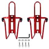 DERU Portabidón para Bicicleta, portabidón para Bicicleta, portabidón para Bicicleta de aleación de Aluminio, Utilizado para Bicicletas, Bicicletas de montaña y sillas de Ruedas, etc(2 Piezas, Rojo)