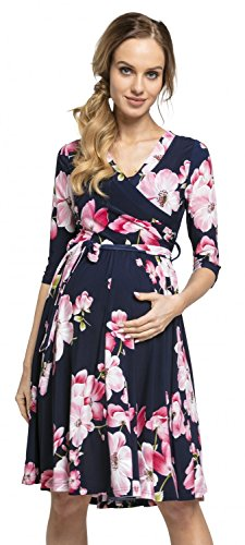 Happy Mama.Damen 2in1 Umstands gerafften Stillkleid Doppelschicht 3/4 Ärmel.609p (Style 1, 36, S)