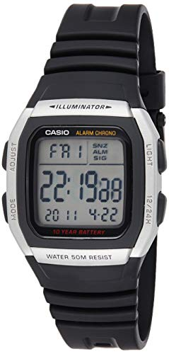 Relógio Masculino Casio Digital W-96H-1AVDF - Prata/Preto
