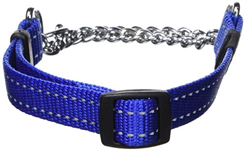 Rogz Utility Medium 5/8-Inch Reflective Snake Obedience Half-Check Dog Collar, Blue