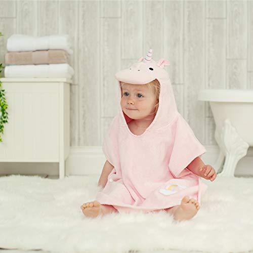 Toalla de baño estilo poncho con diseño de unicornio para niñas de 1a3años de edad, para playa y la hora del baño, de Bathing Bunnies