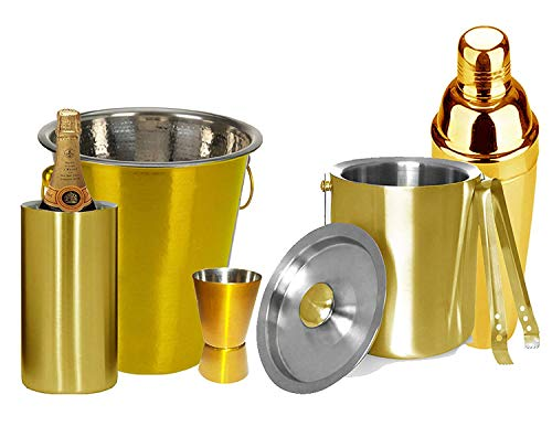 Stainless Steel Golden colouRed Colored All in One Bar Set, Bar Tools, Bar Accesories Set of 6 Pieces include Ice Bucket with Tong, Cocktail Shaker, Jigger, Champagne Bucket and Wine Cooler