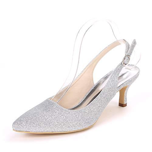 LGYKUMEG Schuhe Damen Kätzchen verstellbaren Gürtel Mode Sandalen Stilettos 6,5 cm,04,EU38
