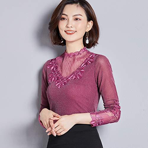 DJSHXC Art- und Weisestickerei verstärkte Spitze-Bluse-Frauen-Hemd-Lange Hülsen-dünnes Blusen-Hemd Plus Größen-Damen-Oberseiten,Pink