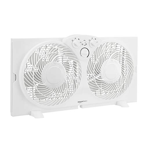 Amazon Basics Window Fan with Manual Controls, Twin 9-Inch Reversible Airflow Blades
