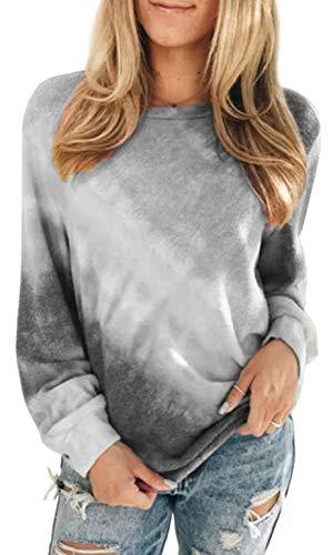 heekpek Sudaderas Mujer Sweatshirt Casual Pullover Mujer Tie Dye Sudaderas sin Capucha Cuello Redondo Camiseta Manga Larga Mujer para Primavera Otoño e Invierno