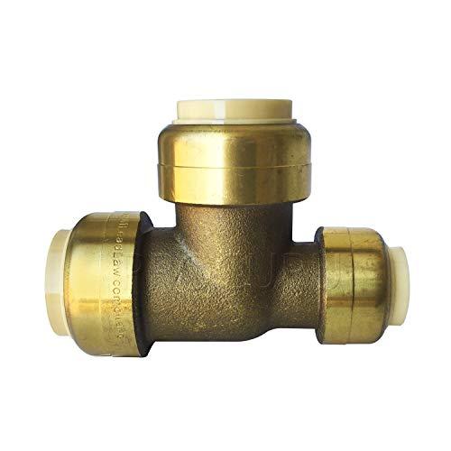 "PROCURU PushFit Reducing Tee 3/4"" x 1/2"" x 3/4"" - Plumbing Fitting for Copper, PEX, CPVC Pipe, Lead Free Certified (3/4"" x 1/2"" x 3/4"")"