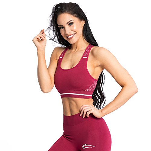 SMILODOX Seamless Sport-BH Damen Feminity   Fitness-BH ohne Bügel   Starker Halt im Training - Bustier für Pilates Yoga Gym Fitness - Soft Büstenhalter - Sports Bra, Größe:L, Farbe:Bordeaux