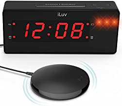 iLuv Time Shaker Wow Vibrating Bed Shaker Alarm Clock for Heavy Deep Sleepers, LED Display, Super Loud Panic Alert, Flashing Red Alert Light, Multiple Vibration Levels, Dual Alarm, USB Charging Port