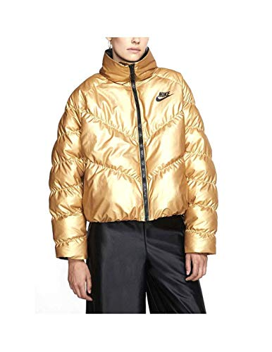 Nike W NSW Syn Fill Jkt Stmt Shine Jacke, Damen, Metallic Silver/Black, L S Metallic Gold/Schwarz