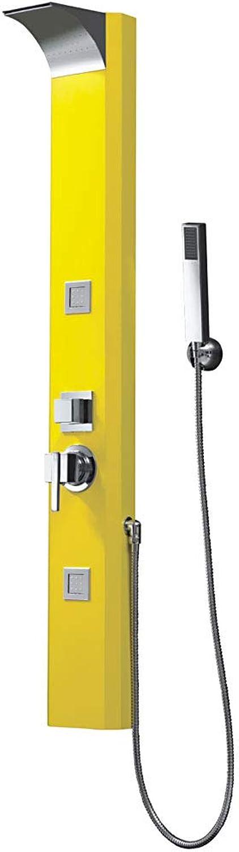 Gelbes Alu Duschpaneel Duschsule mit Wasserfall und Massagedüsen Sanlingo