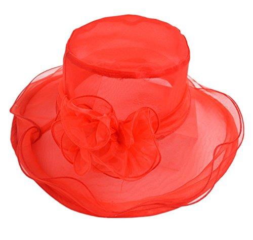 Kentop Sol Sombreros Sombrero Organza Fascinator Sombrero Mujer Verano Sombrero Flores Organza Sol Sombrero Sombreros 1Pieza, Rojo, 58 cm