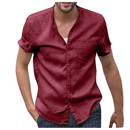 BOLANQ Männer Tops, Herren Baggy Baumwolle Leinen Solide Kurzarm Knopf Retro T Shirts Tops Bluse(Medium,Rot)