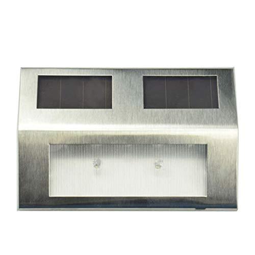Swiftswan - Lámpara solar de jardín de acero inoxidable con 2 ledes, superbrillante, resistente al agua, compatible con escaleras al aire libre