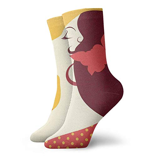 Unisex adult printed sports socks,Flamenco Woman In Retro Polka Dot Dress With Flower In Her Hair Rhythm Dancer,Men's and Women's street casual sports socks
