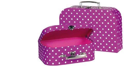 Goki 60106 - poppenaccessoires - koffer, paars met witte stippen