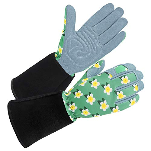 SKYDEER Women's Gardening Gloves with Deerskin Suede Leather and Extended Leather Cuff for Yard Work, Rose Pruning and Daily Work (SD6611LL)