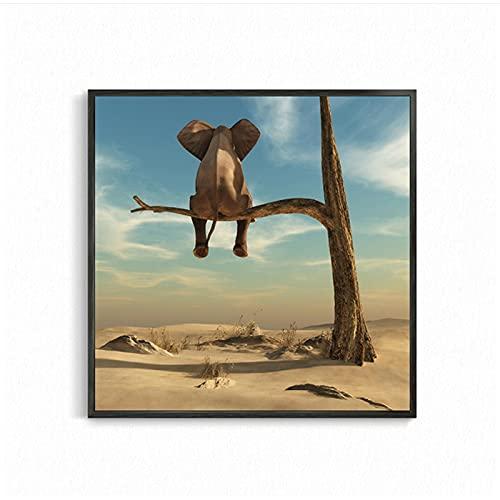 30x30cm x1 Piezas sin Marco Elefante Divertido en el árbol Lienzo Minimalista Moderno Pintura Cuadros de Arte de Pared Carteles nórdicos para la decoración del Dormitorio de la Sala de Estar