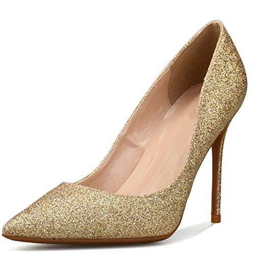 Fenghz-Shoes Schuhe Mode D'orsay Pumps für Damen Hohe Stiletto Heels Glitter Dress Schuhe Spitze Spitze: Spitz, Klassische Slip-On-Pumps (Color : Gold 8 cm Heel, Size : 35 EU)