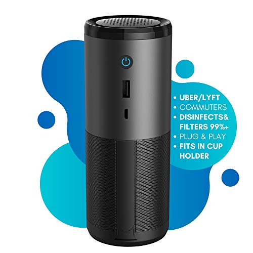 KLEENKI.com HEPA Car Air Purifier Travel-Sized Portable w/ H13 Filter, Mercury-Free, Ozone-Free, Ideal for Rideshare Drivers, Rooms, Odor, Commutes, Filters Allergens 99%+ Purification (1 Pack, Black)
