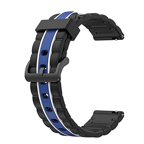 LGFCOK Bandas de silicona onduladas para Huawei Watch GT 2 de 46 mm/Galaxy Watch 3 de 45 mm de repuesto de correa deportiva de repuesto (color de la correa: blanco y azul)