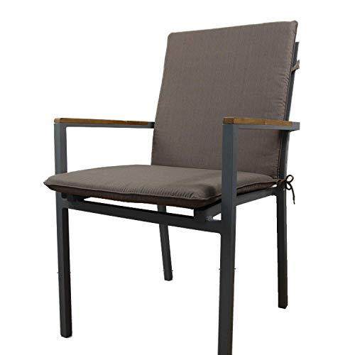 Nordje Gartenmöbel-Auflage Basic für Niederlehner mit dem Maß 100x49x5cm (HöhexBreitexStärke)   Sitzkissen Outdoor   Polsterauflage für Gartenmöbel (Taupe)