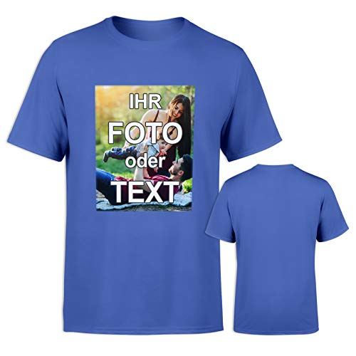 T-Shirt mit eigenem Foto Text Logo Name selbst gestalten * ringgesponnene Baumwolle * vollfarbig EINSEITIG Bedruckt * viele Farben, Größe: XL, Farbe: Blau