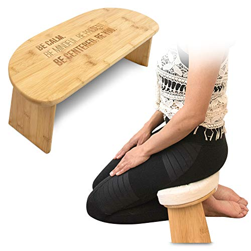 Monk & Llama Kneeling Meditation Bench with Foldable Legs & Cushion — Perfect Kneeling Stool Ergonomic Bamboo Yoga Bench for Extended Practice - Includes Carrying Bag (Beige)