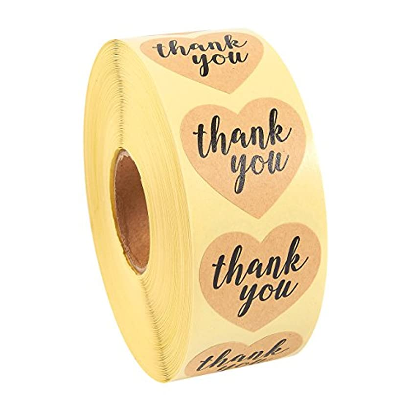 Thank You Stickers Roll - 1000-Piece Heart Shape Thank You Labels, Ideal for Scrapbooking, Crafting, Party Favors, Kraft Paper Adhesive Labels, Natural Brown, 1.5 Inches in Diameter