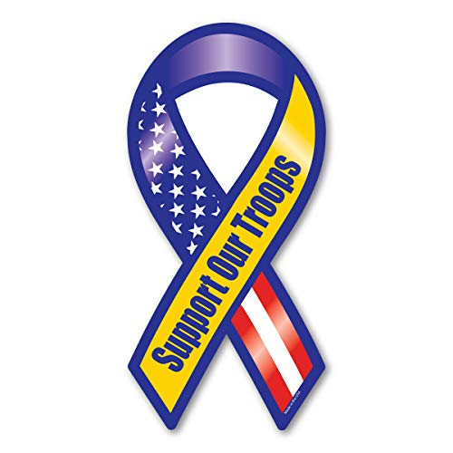 Blue and Yellow Support Our Troops Ribbon Magnet