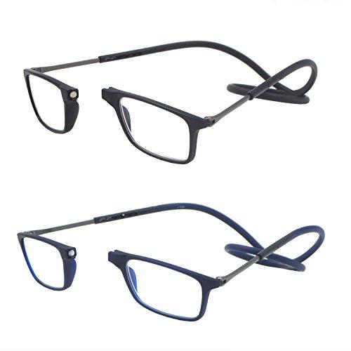 Accurate 2 Paquete portátil plegable delantero expandible Conectar lector de gafas para...